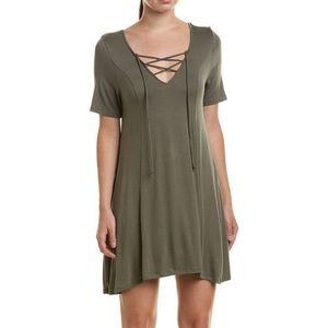 BCBGeneration dusty olive XS lace up t-shirt dress
